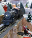 MTH train face on in Department 56 Snow Village